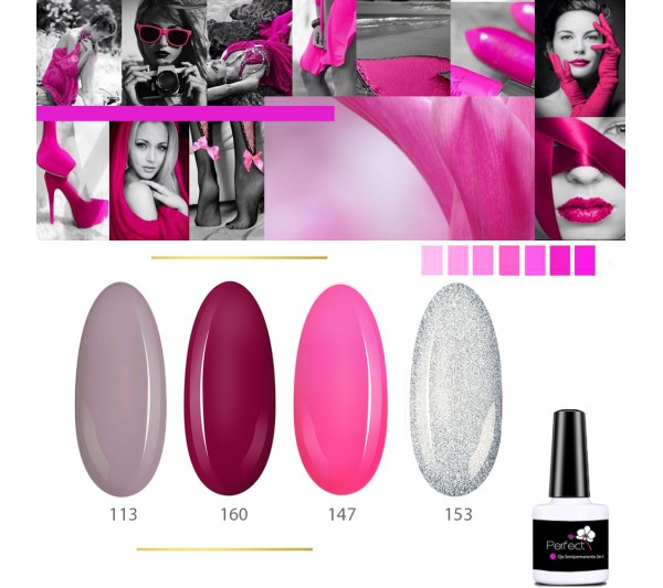 Set Inspiration 4 Oje Semipermanente unghii 3in1 One Step, 6ml cu Pensula, Pink Mood TotulPerfect